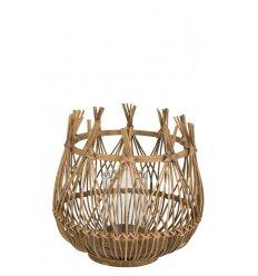 Photophore ouvert boule - bambou naturel