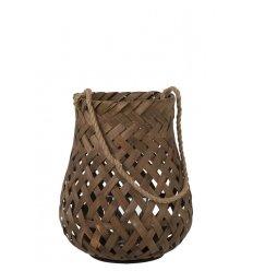 Lanterne tressée ronde - bambou et verre