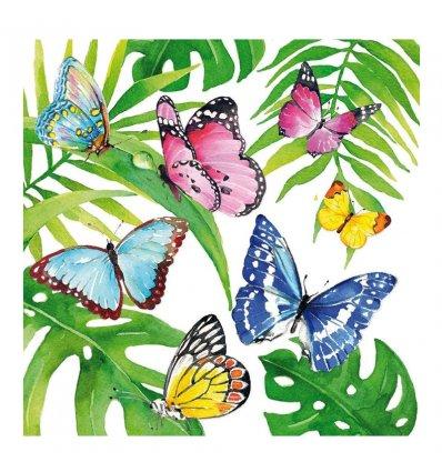 serviette en papier - Tropical Butterflies