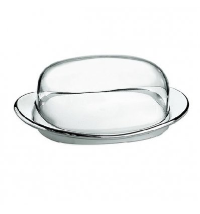 Dish butter transparent - LOOK - transparent and chrome ABS - Guzzini