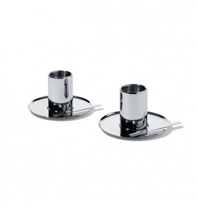 Alessi - Set de 2 tasses à café à double paroi avec soucoupes