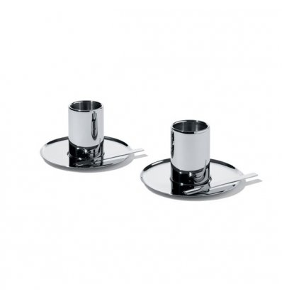Set of two coffee cups double wall with saucers - Alessi