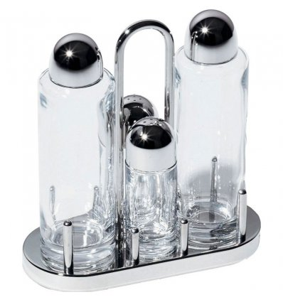 Miniature - Condiment set : oil, vinegar, salt and pepper - Alessi