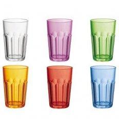 Set of 6 glasses colored in rigid plastic