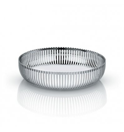 Pierced basket in polished stainless steel - Diameter 20cm. - Alessi