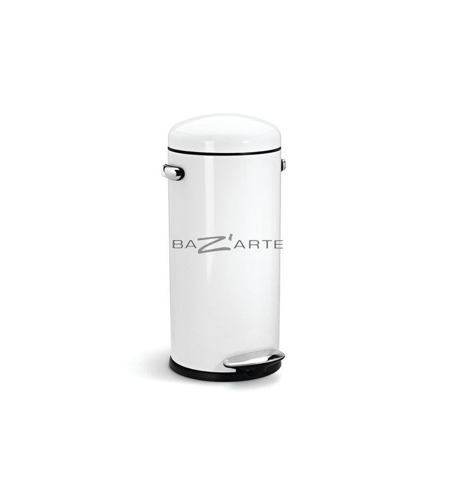 acheter poubelle de cuisine 30 litres retro ouverture par p dale blanc par simplehuman. Black Bedroom Furniture Sets. Home Design Ideas