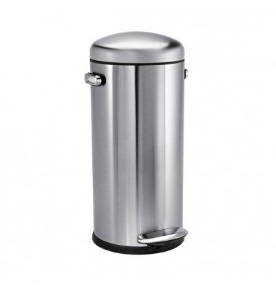 Simplehuman - Poubelle de cuisine 30 litres -  RETRO - ouverture par pédale - inox