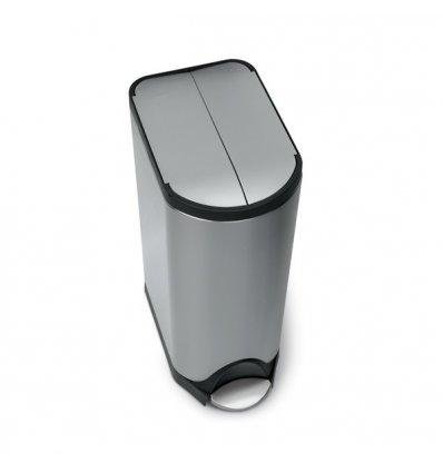 Simplehuman - Poubelle papillon de cuisine 30 litres - ouverture par pédale - inox