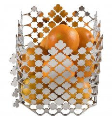 Fruit basket - BLOSSOM - polished stainless steel