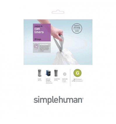 Simplehuman - Sacs poubelle x 20 - blanc 30l- code G