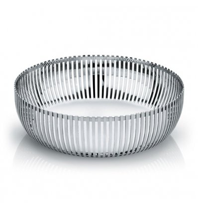 Pierced basket in polished stainless steel  - Diameter 23cm. - Alessi