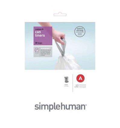 Simplehuman - Sacs poubelle x 30 - CODE A - blanc 4,5 litres