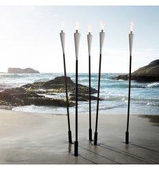 Torche d'extérieur - ORCHOS - Acier inoxydable brillant et bois