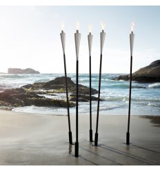Outdoor torch - ORCHOS - shiny stainless steel and wood