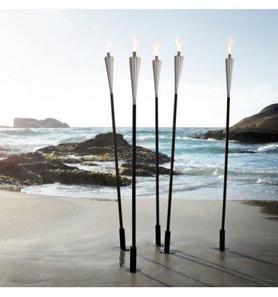 Blomus - Torche d'extérieur - ORCHOS - Acier inoxydable brillant et bois