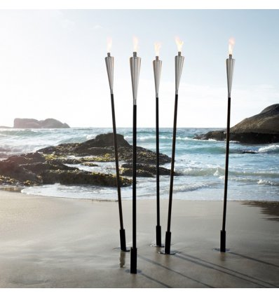 Outdoor torch - ORCHOS - shiny stainless steel and wood - Blomus