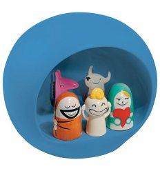 Crèche de Noël avec 5 figurines - FIGURE - Porcelaine peinte à la main - Bleue