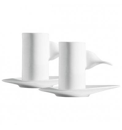 Set of 2 cups with saucer - HAZEL - Porcelain - Alessi