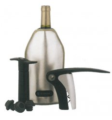 Giftbox with corkscrew, wine pump and freshener - GS139