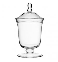 Blown glass candy dish with lid - SERVE - Height 25cm Transparent