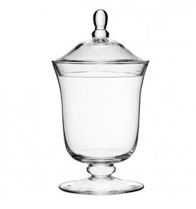 Blown glass candy dish with lid - SERVE - Height 25cm Transparent - LSA International