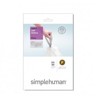 Simplehuman - Sacs poubelle x 20 - CODE F - blanc 25l