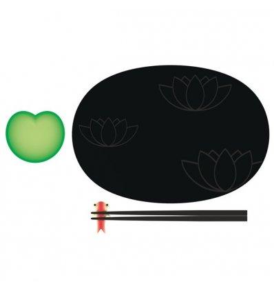 A di Alessi - Set à sushi - LILY POND - Porcelaine et mélamine - set décoré à la main