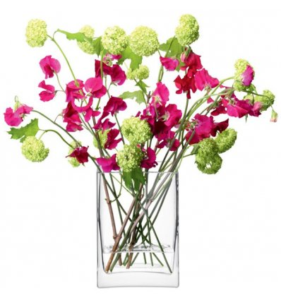 LSA International - Vase rectangulaire soufflé à la bouche - FLOWER - Hauteur 22 cm Transparent