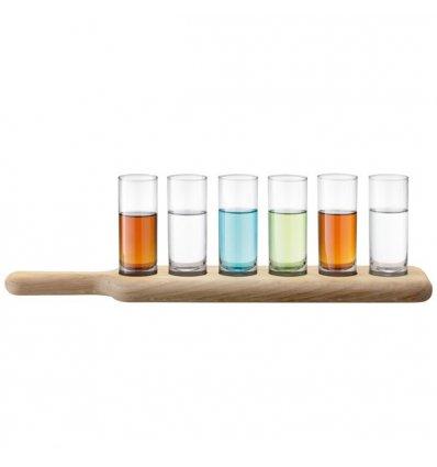 LSA International - Set de 6 verres à Vodka transparent avec plateau en chêne - PADDLE - Longueur 40 cm