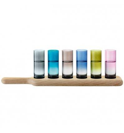LSA International - Set de 6 verres à Vodka colorés avec  plateau en chêne - PADDLE - Longueur 40 cm