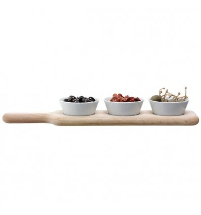 LSA International - Set de 3 bols sur plateau en chêne - PADDLE - Longueur 40 cm
