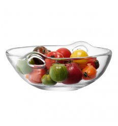 Basket with handles blown glass - ONO - Diameter 36 cm