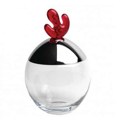 Cookie Jar - BIG OVO - Stainless steel and glass - H 32.5 cm - Alessi