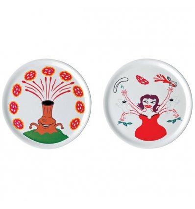 A di Alessi - Set de 2 assiettes à pizza - Porcelaine blanche - Diamètre 31 cm