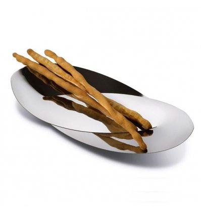 Alessi - Plat à pain - Plat de service - OCTAVE - Acier inoxydable brillant - Longueur 41 cm