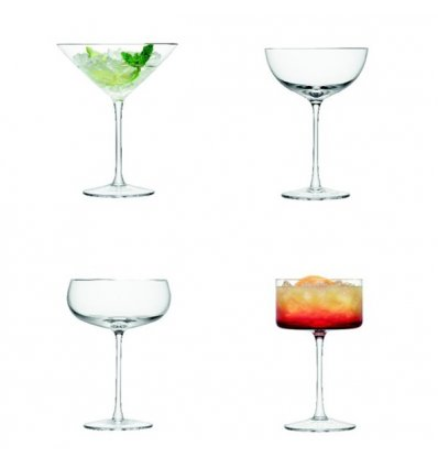 Set of 4 assorted glassware for Cocktail & Champagne - LULU - Blown Glass - LSA International