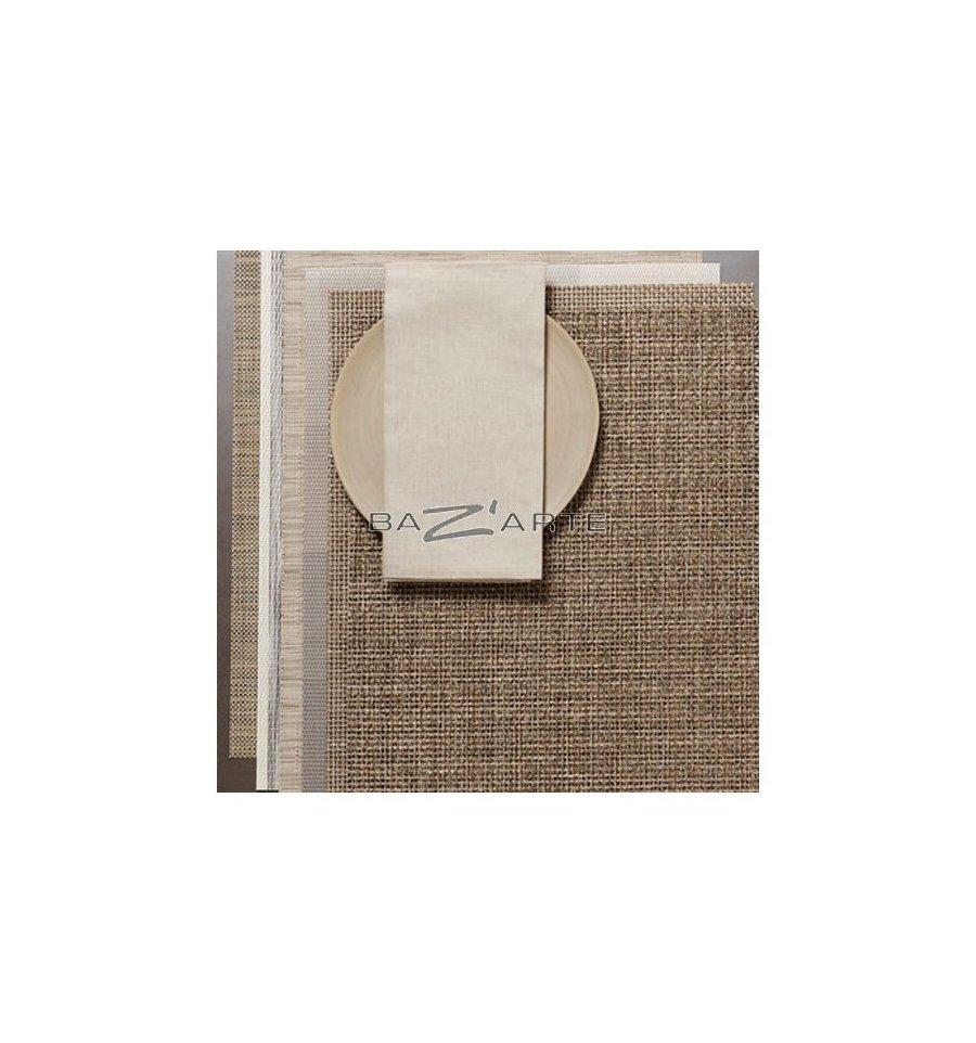 Acheter serviette de table double face blanc lin - Serviette table lin ...