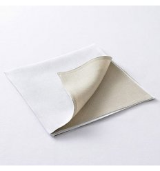 Serviette de table - DOUBLE FACE - blanc / lin naturel - 53 x 53 cm