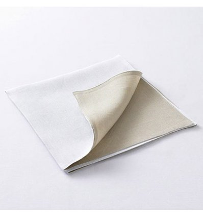 Serviette de table - DOUBLE FACE - blanc / lin naturel - 53 x 53 cm - Chilewich