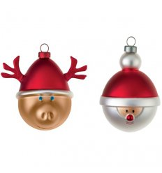 Set of 2 Christmas balls - BABBARENNA E BABBONATALE - blown glass