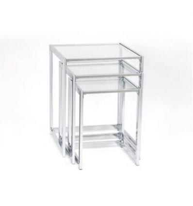 Set de 3 tables en verre et métal