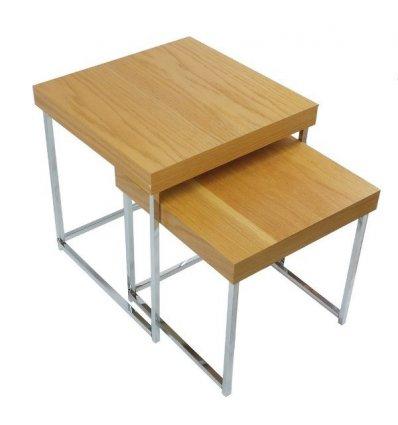 Set 2 tables carré chêne et métal