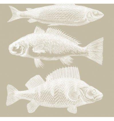 Serviette en papier décorative - Riviera Fish taupe