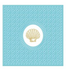 Serviette papier Déco - Médaillon Shell Aqua