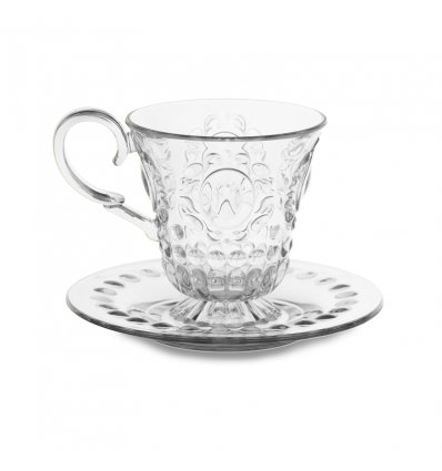 Cup and saucer for tea or coffee - BAROQUE & ROCK - Transparent - Baci Milano