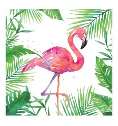Serviette en papier - TROPICAL FLAMINGO