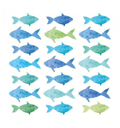 Serviette en papier - Aquarell Fishes